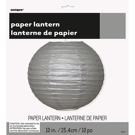 SILVER 10 IN. LANTERN (12/CS) PARTY SUPPLIES