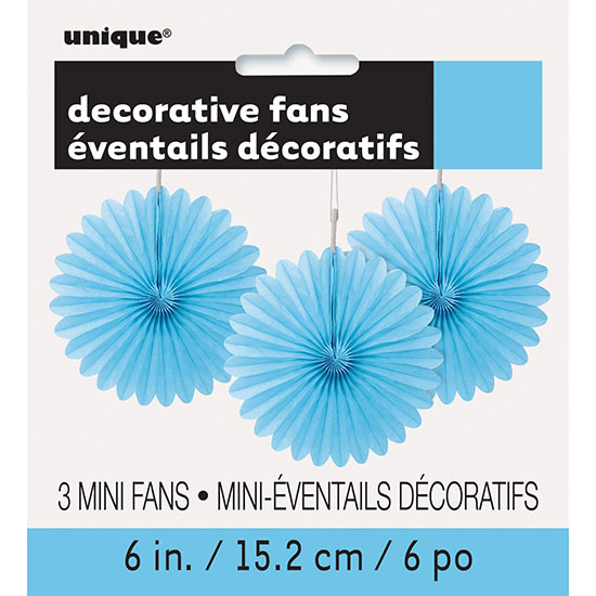 POWDER BLUE 6 IN. TISSUE FAN (36/CS) PARTY SUPPLIES