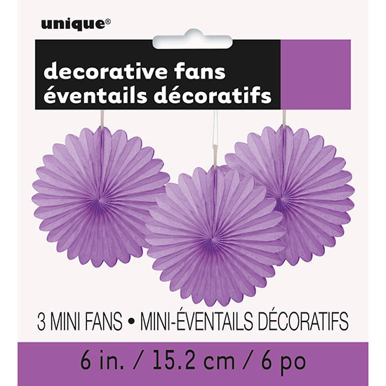 PRETTY PURPLE 6 IN. TISSUE FAN (36/CS) PARTY SUPPLIES