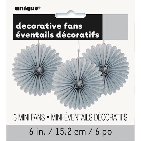 SILVER 6 IN. TISSUE FAN (36/CS) PARTY SUPPLIES