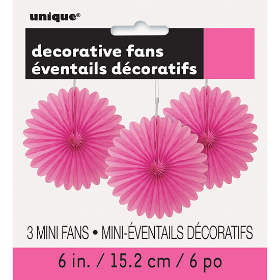 HOT PINK 6 IN. TISSUE FAN (36/CS) PARTY SUPPLIES