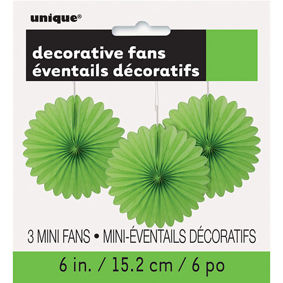 LIME GREEN 6 IN. TISSUE FAN (36/CS) PARTY SUPPLIES