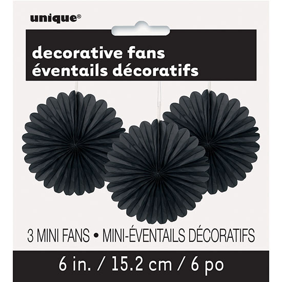 BLACK 6 IN. TISSUE FAN (36/CS) PARTY SUPPLIES