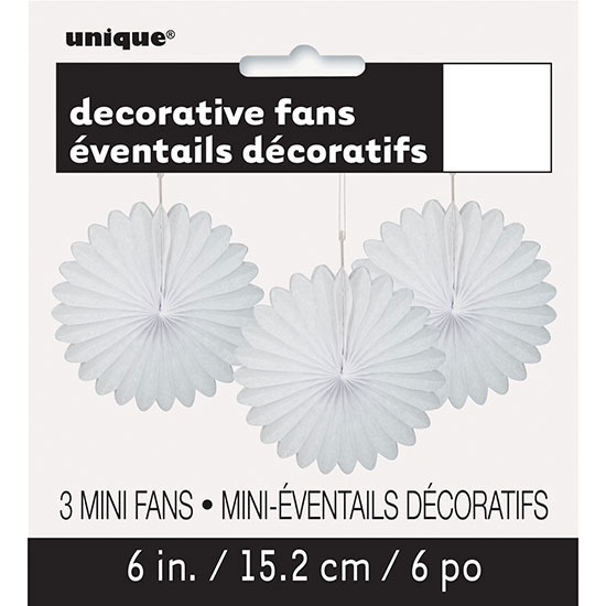 WHITE 6 IN. TISSUE FAN (36/CS) PARTY SUPPLIES