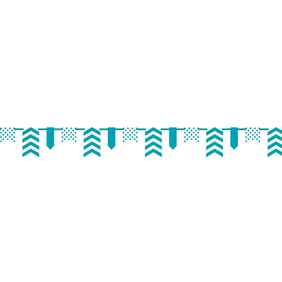 TEAL DOT/STRIPE BNR-12FT PARTY SUPPLIES