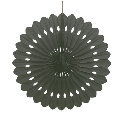 Click for larger picture of BLACK 16IN DECORATIVE FAN (12/CS) PARTY SUPPLIES