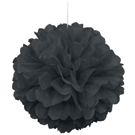 Click for larger picture of BLACK PUFF DECOR 16 INCH PARTY SUPPLIES
