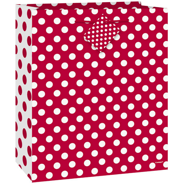 Click for larger picture of RUBY RED DOTS GIFTBAG-MED PARTY SUPPLIES