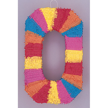 Click for larger picture of PINATA NUMERAL #0 (4/CS) PARTY SUPPLIES