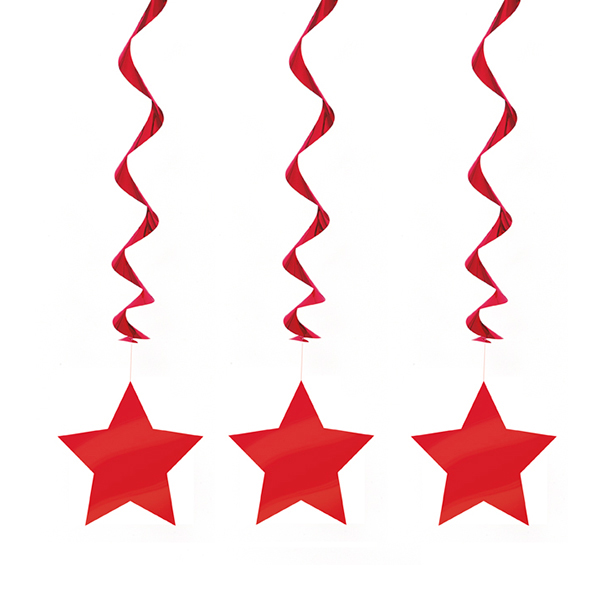 Click for larger picture of RED STAR HANGING DECORATION PARTY SUPPLIES