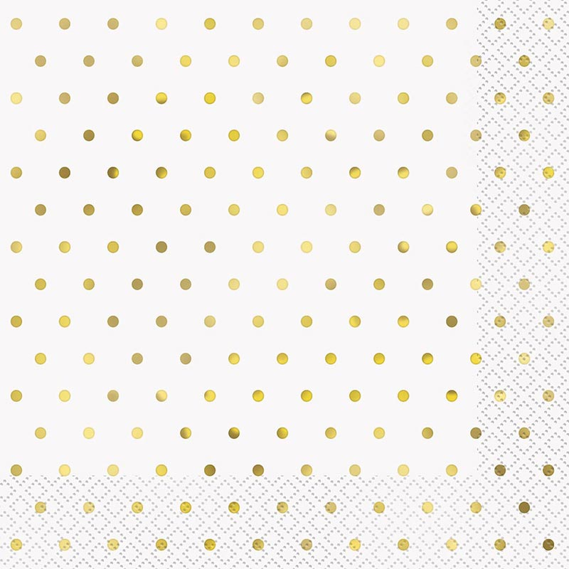 Click for larger picture of ELEGANT GOLD DOTS LUNCH NAPKIN (192/CS) PARTY SUPPLIES
