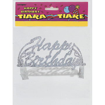 Click for larger picture of BIRTHDAY SCRIPT GLITTER TIARA (6/CS) PARTY SUPPLIES