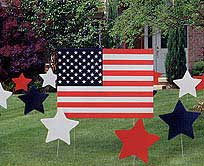 Click for larger picture of AMERICAN FLAG PLASTIC YARD SIGN PARTY SUPPLIES