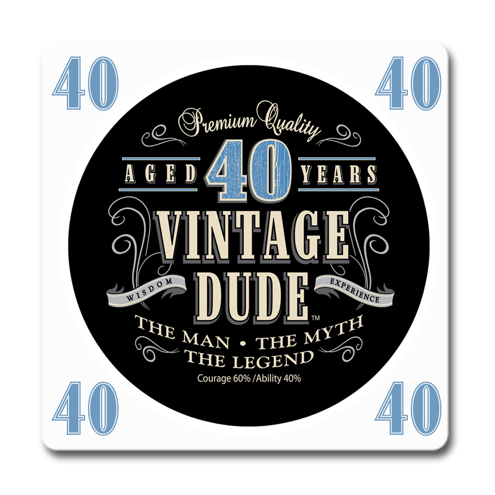 Click For Larger Picture Of VINTAGE DUDE 40TH BIRTHDAY COASTER PARTY SUPPLIES