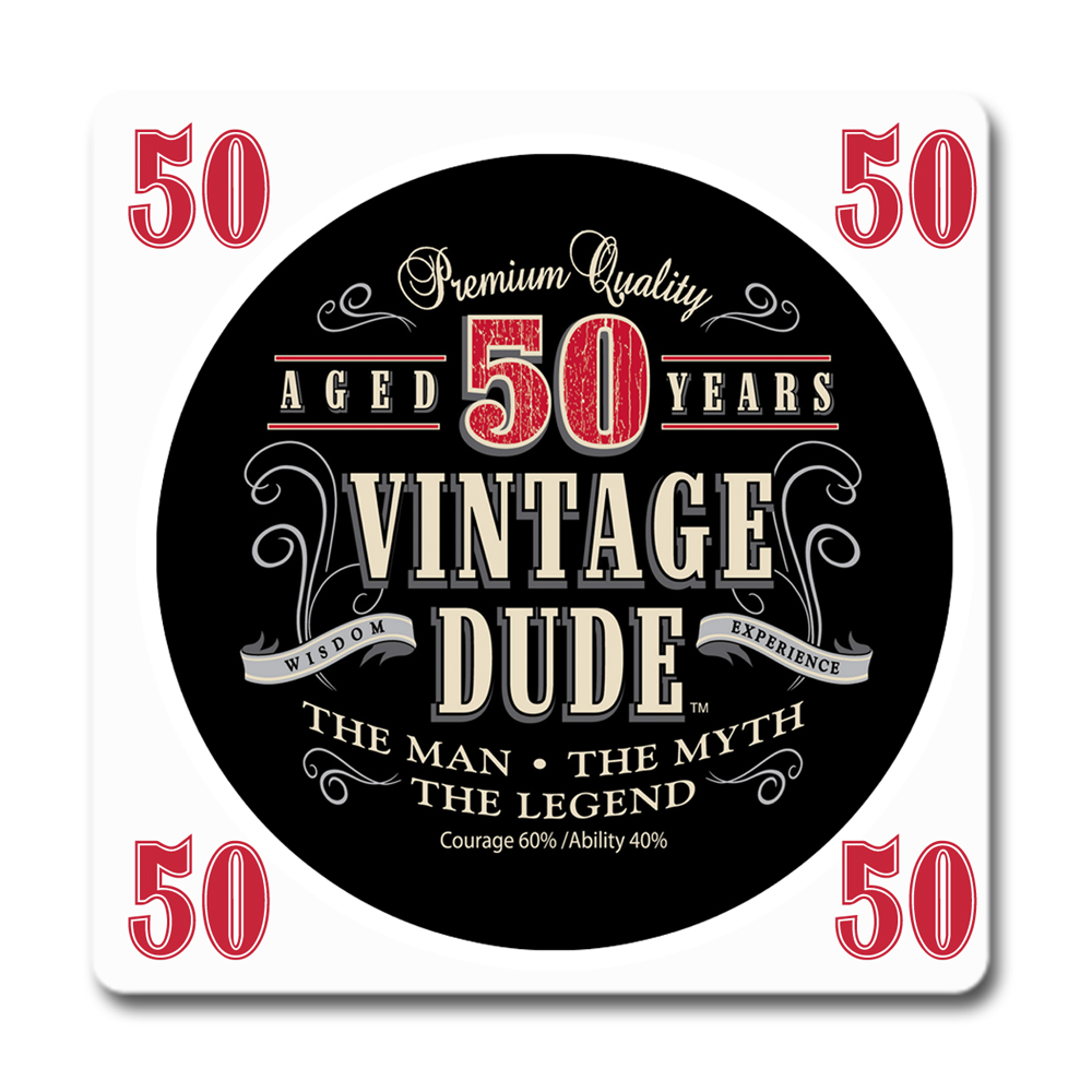 Click For Larger Picture Of VINTAGE DUDE 50TH BIRTHDAY COASTER PARTY SUPPLIES