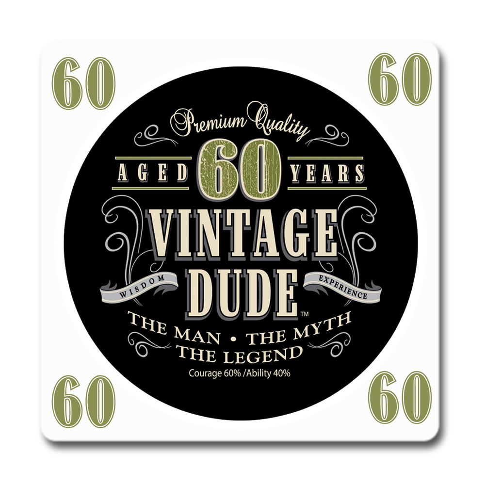 Click For Larger Picture Of VINTAGE DUDE 60TH BIRTHDAY COASTER PARTY SUPPLIES