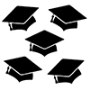 BLACK MORTARBOARD GRAD DECO FETTI PARTY SUPPLIES