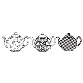 DISCONTINUED TEAPOT TRIO RUBBER STAMP PARTY SUPPLIES