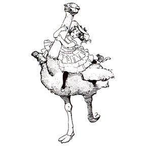 Click for larger picture of DISCONTINUED OSTRICH RIDE RUBBER STAMP PARTY SUPPLIES