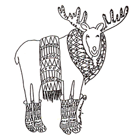 Click for larger picture of DISCONTINUED NORDIC MOOSE RUBBER STAMP PARTY SUPPLIES
