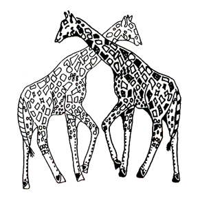 Click for larger picture of DISCONTINUED GIRAFFES RUBBER STAMP PARTY SUPPLIES