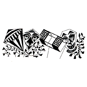 DISCONTINUED KITE BORDER RUBBER STAMP PARTY SUPPLIES