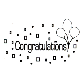 DISCONTINUED CONGRATS W/BALLOONS STAMP PARTY SUPPLIES