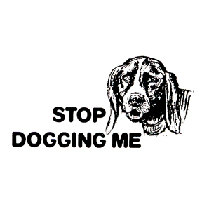 DISCONTINUED STOP DOGGING ME RBBR STAMP PARTY SUPPLIES