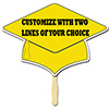 YELLOW GRAD CAP CUSTOMIZED PADDLE PARTY SUPPLIES