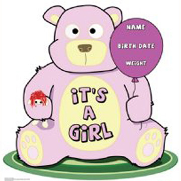 Click for larger picture of ITS A GIRL TEDDY BEAR STANDUP PARTY SUPPLIES