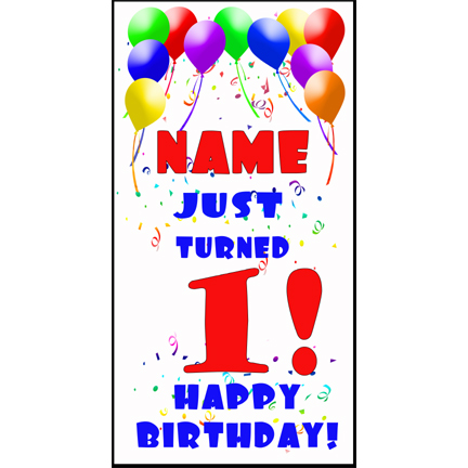 Click for larger picture of PERSONALIZED 1ST BALLOON BDY DOOR BANNER PARTY SUPPLIES