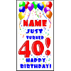 PERSONALIZED 40TH BALLOON BD DOOR BANNER PARTY SUPPLIES