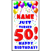 PERSONALIZED 50TH BALLOON BD DOOR BANNER PARTY SUPPLIES