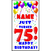 PERSONALIZED 75TH BALLOON BD DOOR BANNER PARTY SUPPLIES