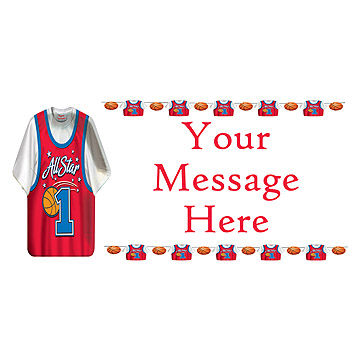 PERSONALIZED BASKETBALL SHIRT BANNER PARTY SUPPLIES