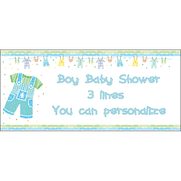 Click for larger picture of PERSONALIZED BABY BOY CLOTHES BANNER PARTY SUPPLIES