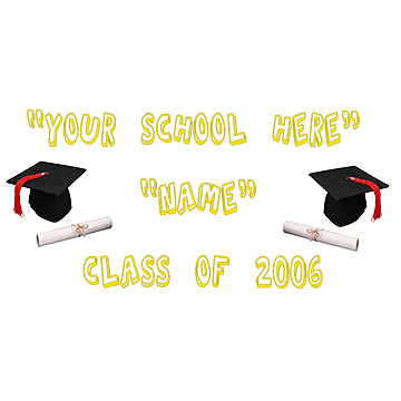 PERSONALIZED GRADUATION SCHOOL BANNER YL PARTY SUPPLIES
