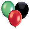 GREEN BLACK & RED BALLOON (SOLID) PARTY SUPPLIES