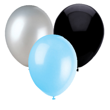 LT BLUE, SILVER & BLACK BALLOON COMBO PARTY SUPPLIES