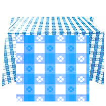 Click for larger picture of 54X108IN. LT BLUE GINGHAM LW TABLECOVER PARTY SUPPLIES