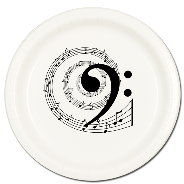 Click for larger picture of MUSIC NOTE BASS DINNER PLATE 8/PKG PARTY SUPPLIES