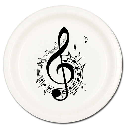 Click for larger picture of MUSIC NOTE TREBLE DESSERT PLATE 8/PKG PARTY SUPPLIES