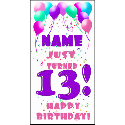 Personalized 13th pastel blln door banne each 25 inches for 13th door
