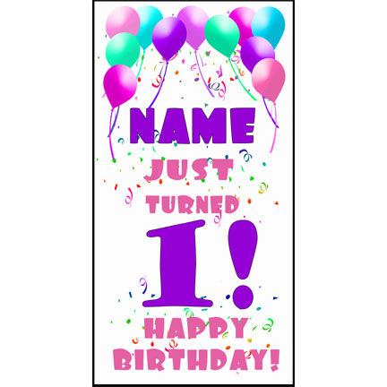 Click for larger picture of PERSONALIZED 1ST PASTEL BLLN DOOR BANNER PARTY SUPPLIES