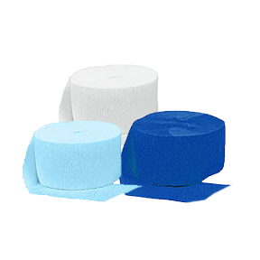 ROYAL BLUE-WHITE-LT BLUE CREPE  (SOLID) PARTY SUPPLIES