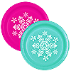 SNOWFLAKE TEAL-MAGENTA DESSERT PLATE PARTY SUPPLIES