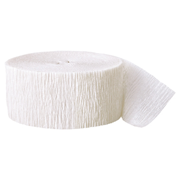 WHITE CREPE STREAMER (81') PARTY SUPPLIES